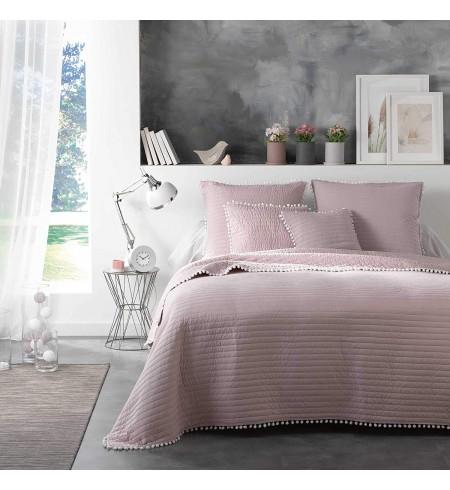 Douceur d'intérieur couvre lit pompons