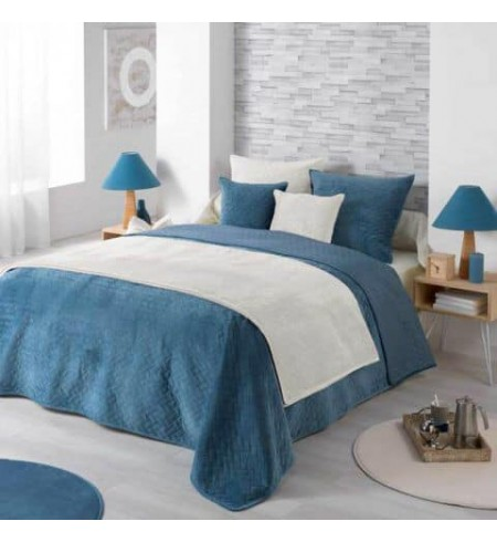Douceur d'Intérieur Bellanda Couvre Lit Bleu, 220 x 240 cm