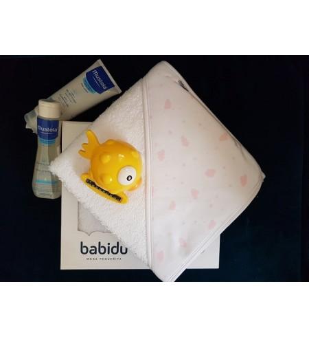 BABIDU sortie de bain rayé bleu